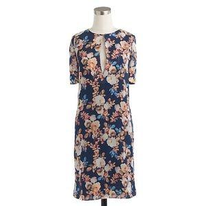 J. Crew Antique Floral Silk Sheath Midi Dress NWT